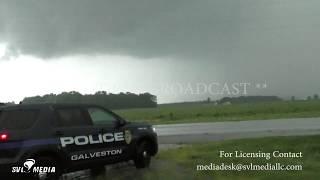 Galveston - Wolcott,  Indiana Brief Tornadoes, Emergency Crews, Wall Cloud 7-10-2017