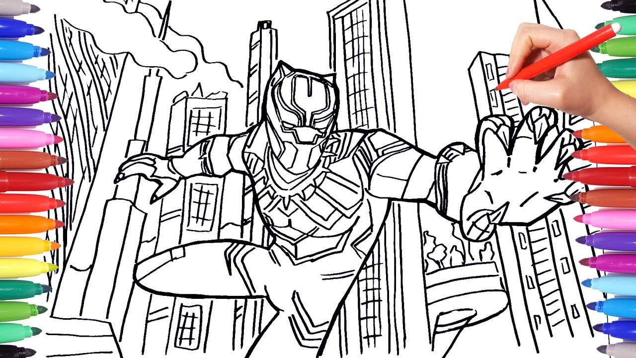 BLACK PANTHER Coloring Pages | Draw and Color Marvel Superheroes ...