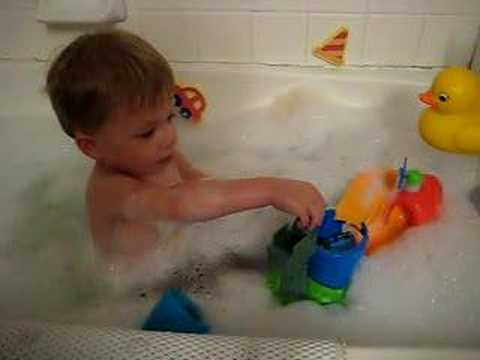 Andrew playing in tub with Thomas toy and ducky (aka rubber ducky #1 ...