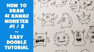 How To Draw 41 Kawaii Doodle Monsters #1 - Easy Doodle Tutorial for Beginners