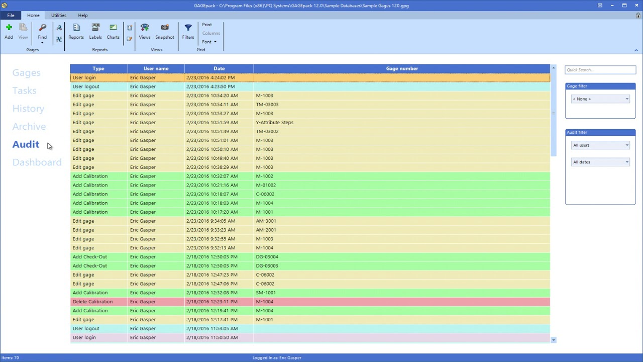 Color Coding | GAGEpack gage management software - YouTube