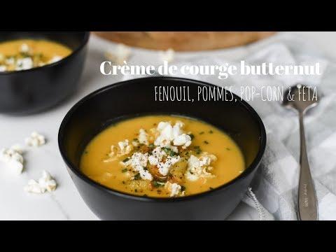 crème-de-courge-butternut,-fenouil,-pommes,-pop-corn-&-feta