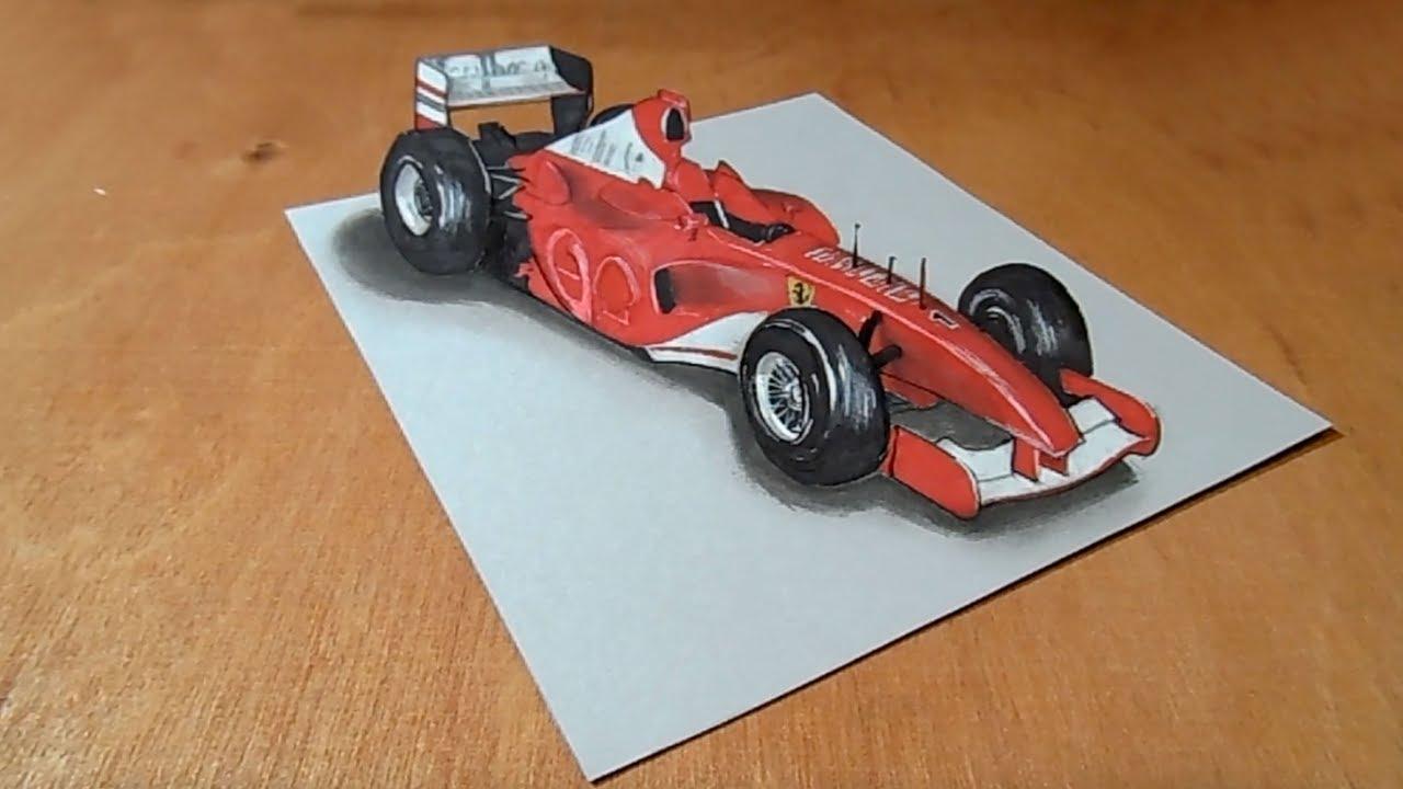 Drawing Ferrari Formula 1 Car 3d Trick Art On Paper Vamosart Youtube