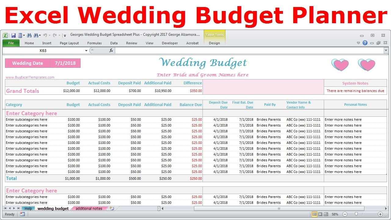 Excel Wedding Budget Spreadsheet Expenses Tracker Cost Calculator