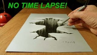 3D Drawing Hole, Art Drawing on Paper, No Time Lapse Video!