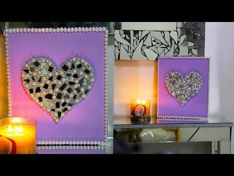 Valentine's Day DIY Canvas Heart Art   DIY Room Decor Ideas