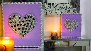 Valentine's Day DIY Canvas Heart Art | DIY Room Decor Ideas