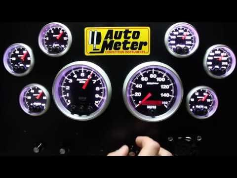 Auto Meter Elite Series Gauges Demonstration For Racing Street With Warning Light Function!