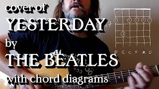 Cover of 'Yesterday' by the Beatles, with chord diagrams.