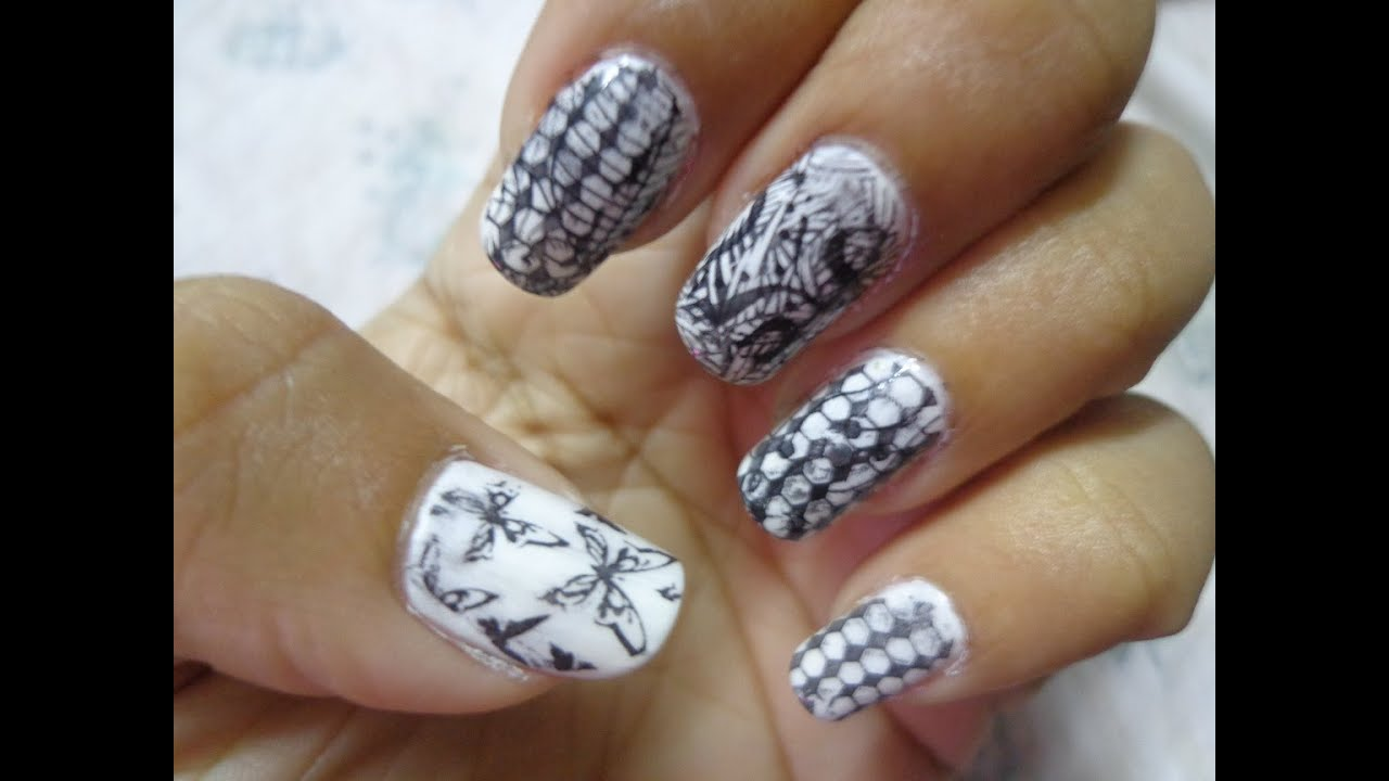 nail art new style in quick just use nail plate and stamp - YouTube