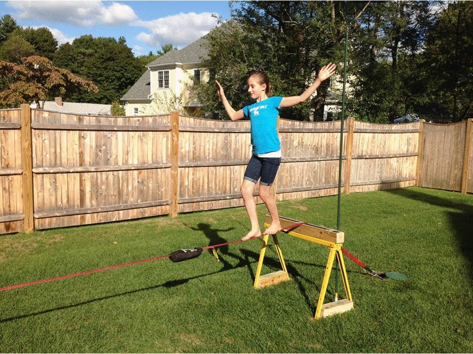 Backyard Slackline Set Up No Trees Or Cement