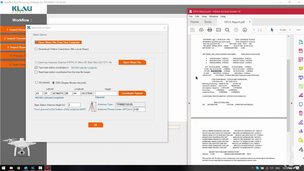 DJI Phantom 4 RTK processing in Klau PPK Software