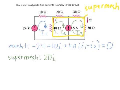 Mesh analysis with supermesh. Solution