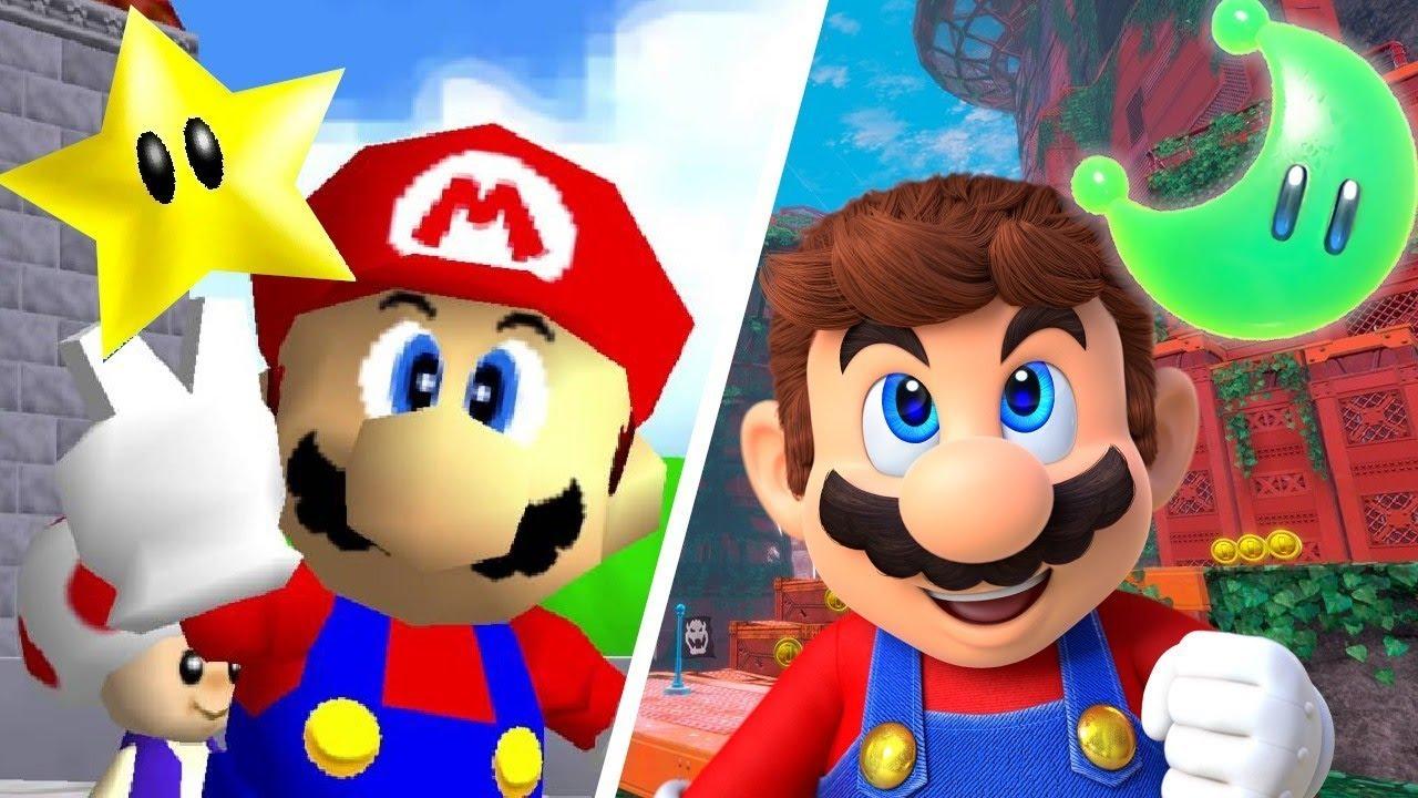 super mario odyssey 2017 vs super mario 64 1996 youtube
