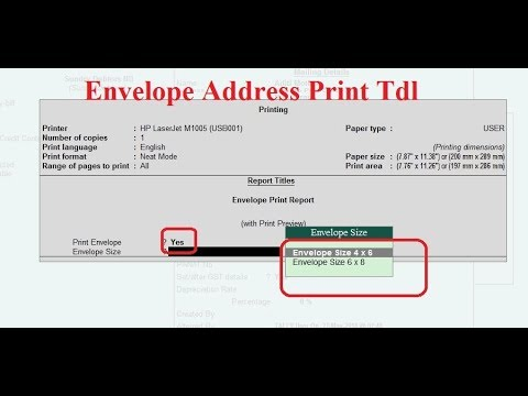 Tally TDL for Envelope Printing Tally Add on for Envelope Printing