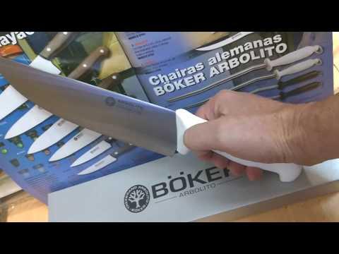 Cuchillo Boker Arbolito Cabo Plastico Blanco Carnicero Acero Inoxidable.