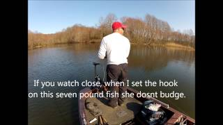 Deep water Largemouth bass fishing with a jig in New Jersey
