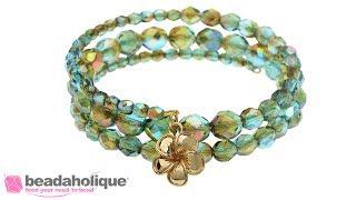 How to Make a Memory Wire Bracelet using Czech Fire Polished Glass Beads