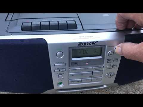 Sony CFD-S38 Portable CD Player AM/FM Clock Radio Cassette Player Recorder Boombox