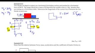 chapter 4 example 13 two blocks in contact with each other on frictionless surface