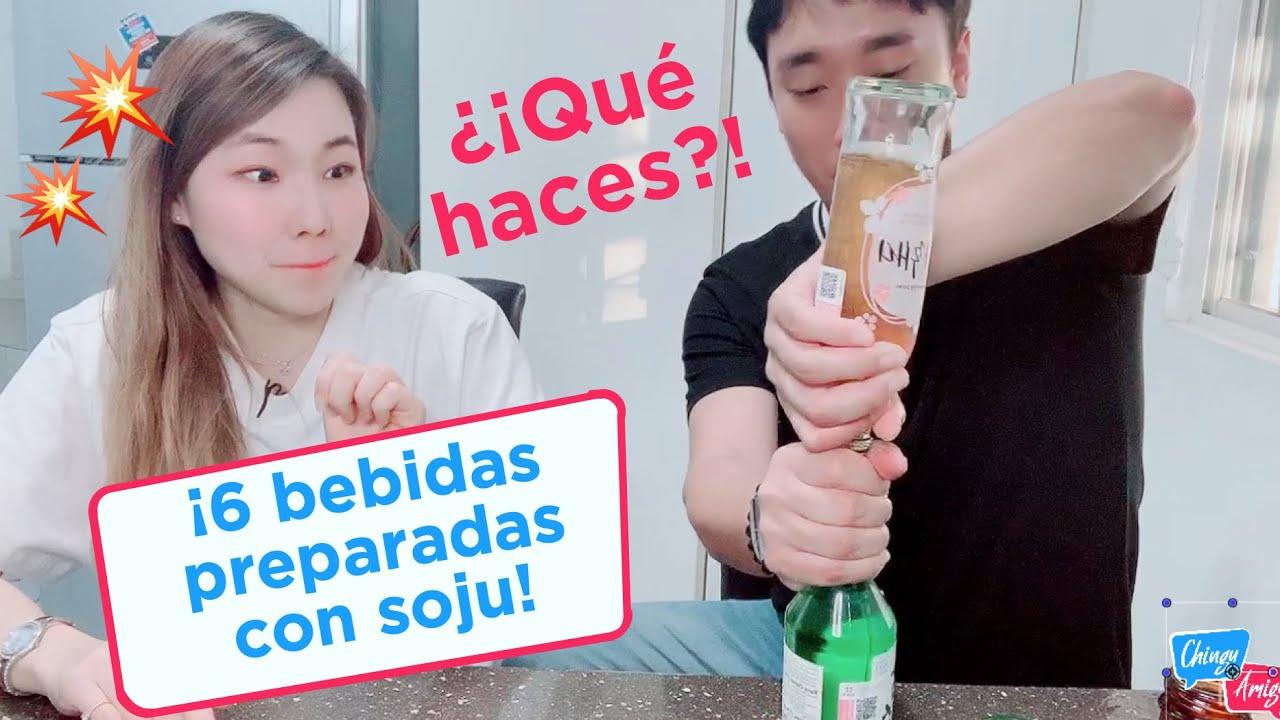 Preparando bebidas coreanas raras con soju (parte 2 como tomar soju)