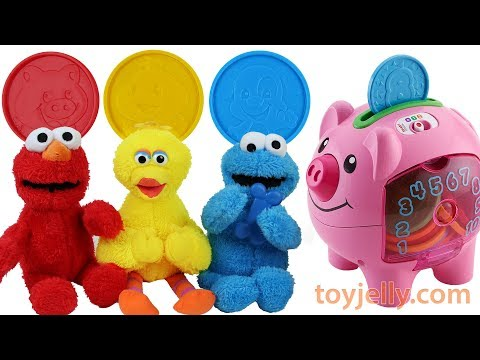 Learn Colors Fisher Price Piggy Bank Baby Toys Kinder Joy Surprise Egg Elmo Big Bird Cookie Monster