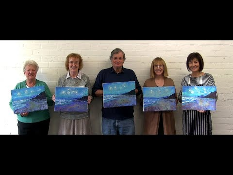 Acrylics workshop - How to paint using acrylics - part 3 of 4.  Sea scene using sponge roller.