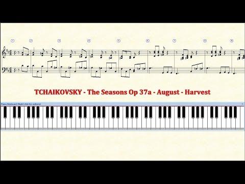 Piano Tutorial Sheet - 08 - TCHAIKOVSKY - August - Harvest - HD