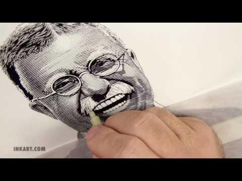 Scratchboard Illustration of Theodore Roosevelt