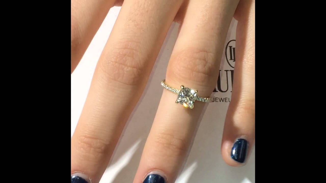 111 Ct Cushion Cut Diamond Engagement Ring In Yellow Gold