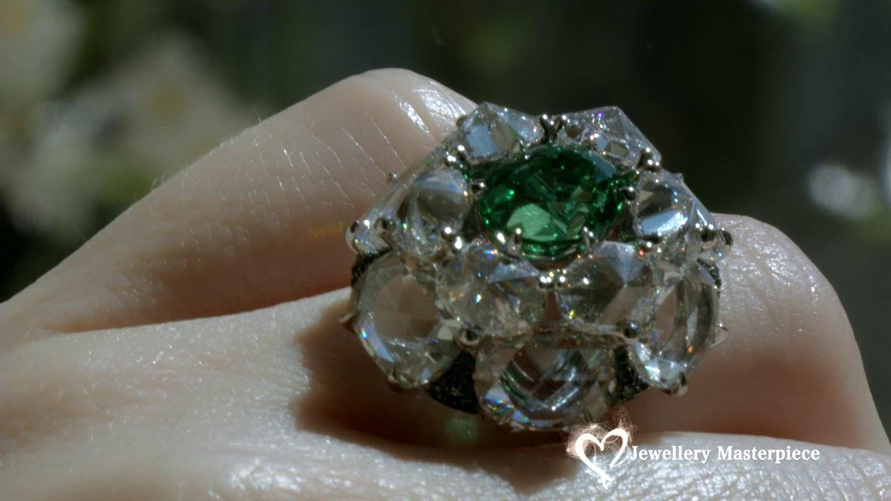 High Jewelry Diamond Ring Set with vivid green Kornerupine