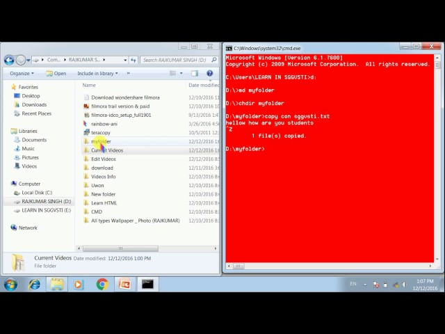 Learn MS DOS Part - 4, How to Create files & Folders in Hindi (हिंदी)