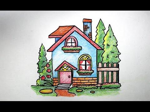 Cara Menggambar Rumah Untuk Anak Sekolah Dasar Youtube