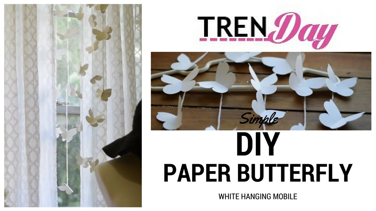 Diy butterfly mobile butterfly chandelier mobile - White Butterfly Diy Hanging Mobile Beautiful And Easy