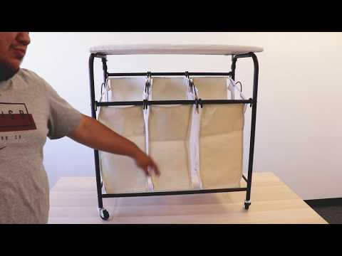 Ollieroo Rolling Laundry Sorter Cart Heavy Duty Bags Laundry Hamper Sorter with Ironing Board