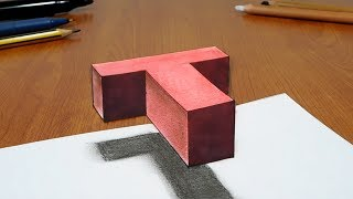 Try to do 3D Trick Art on Paper, floating letter T
