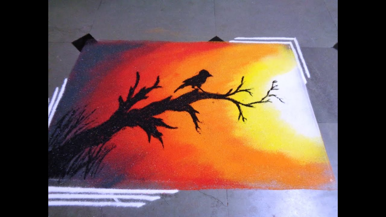 How To Make Sunset Poster Rangoli