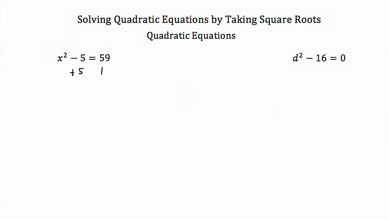 Solving Quadratic Equations by Taking Square Roots YouTube – Simplifying Square Roots with Variables Worksheet