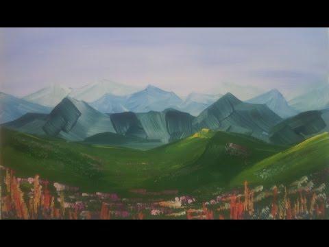Цветы в горах гуашью [Картина за 3 минуты!]