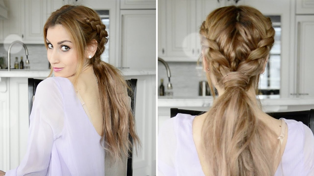 Messy Braided Boho Ponytail Hairstyle Fancy Hair Tutorial Youtube