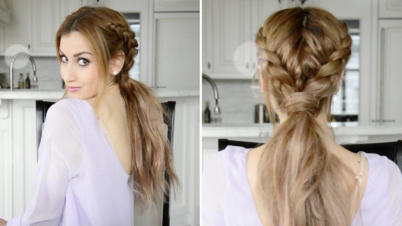 messy braided boho ponytail hairstyle