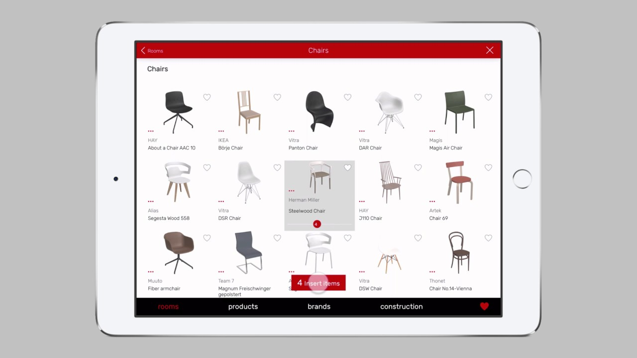 08 add furniture to a floor plan with the roomle app for for Floor plan app for ipad