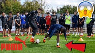 CAN I NUTMEG FUTURE PRO FOOTBALLERS !? (CRAZY REACTIONS) *PUMA SIGNING*