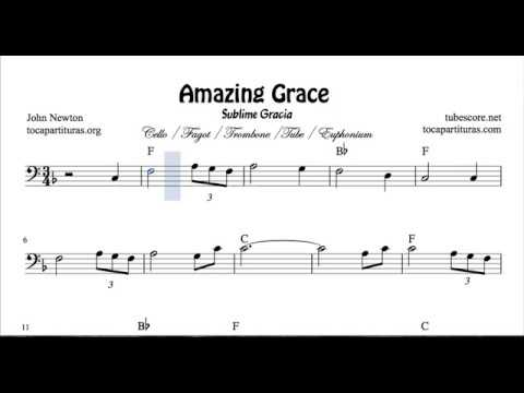 Amazing Grace Sheet Music for Cello Bassoon Trombone Tube Euphonium in bass clef