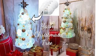 DIY CHRISTMAS TREE!!! HOW TO USE YARN THIS HOLIDAY - INEXPENSIVE CHRISTMAS DECOR FOR THE HOME