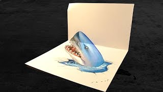 Drawing Blue Shark - 3D Trick Art on Paper - VamosART