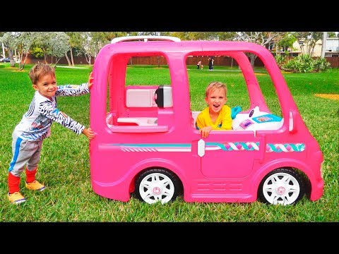 Vlad and Nikita ride on Barbie Car to camping