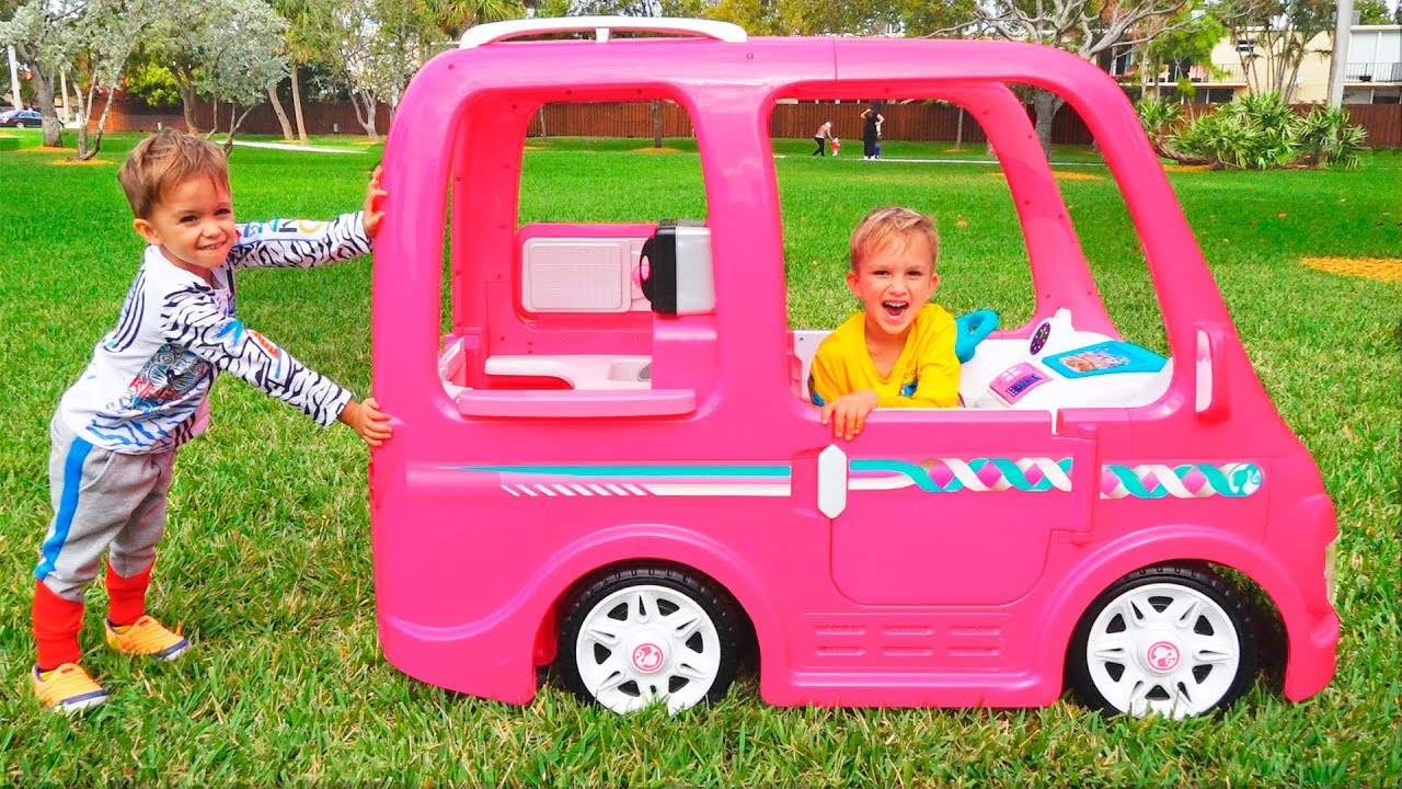 1890321378b64 Vlad and Nikita ride on Barbie Car to camping - YouTube