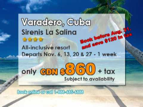 Sirenis La Salina Resort, Varadero, Cuba - Calgary Departure