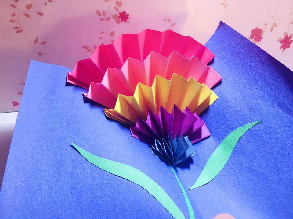 How To Make a CARNATION POP-UP CARD (origami) 立體康乃馨母親節卡片 || RuoxiMyLife - YouTube